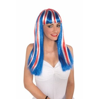 Long Patriotic Wig Red White Blue Stripes England/USA American Adult Womens