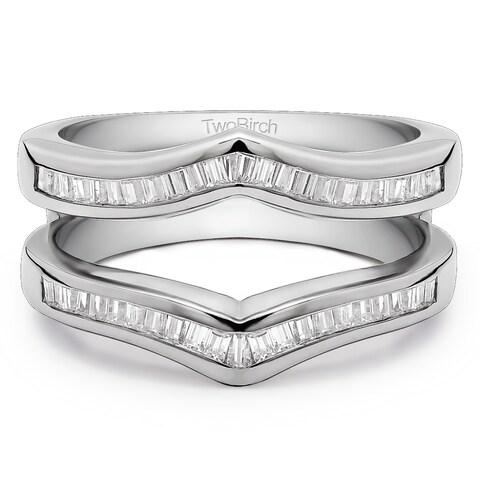 TwoBirch Platinum 3/8ct TDW Diamond Classic Contour Style Ring Guard Enhancer