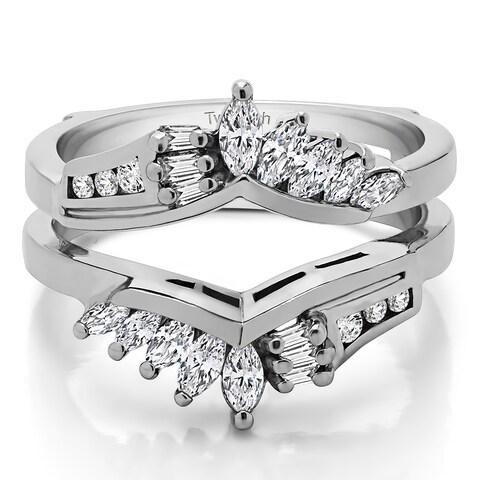 TwoBirch 10k Gold 3/4 ct TDW Diamond Chevron Anniversary Style Ring Enhancer (G-H, I1-I2)