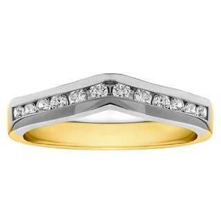 TwoBirch 18k Gold 1/3ct TDW Diamond Classic Contour Wedding Ring (More options available)