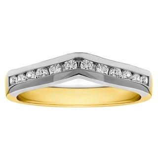 TwoBirch 18k Gold 1/3ct TDW Diamond Classic Contour Wedding Ring