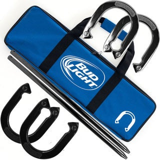 Bud Light Metal Horseshoe Set with Carrying Case