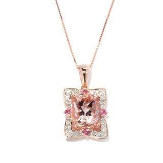 14k Rose Gold Morganite Pink Tourmaline and 1/6ct TDW Diamond Pendant