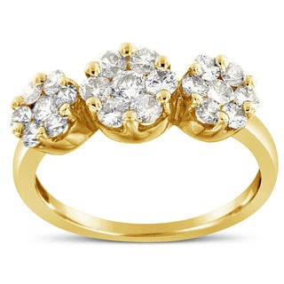 14k Yellow Gold 1 1/6ct TDW Round-cut Diamond Cluster Ring(I-J,I1-I2)