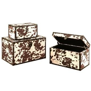 Montana Cowhide Print Storage Trunk Set (Set of 3)