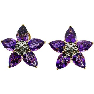Kabella 14k Yellow Gold Flower Gemstone Diamond Accent Stud Earrings