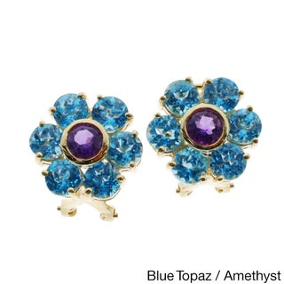 Kabella 14k Yellow Gold Precious Gemstone Flower Design Earrings
