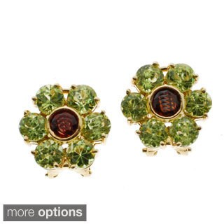 Kabella 14k Yellow Gold Precious Gemstone Flower Design Earrings