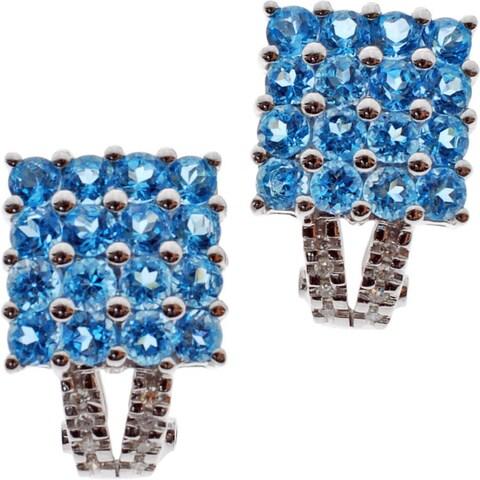 Kabella 14k White Gold Gemstone 1/10ct TDW Diamond Square Earrings (G-H, SI2-I1)