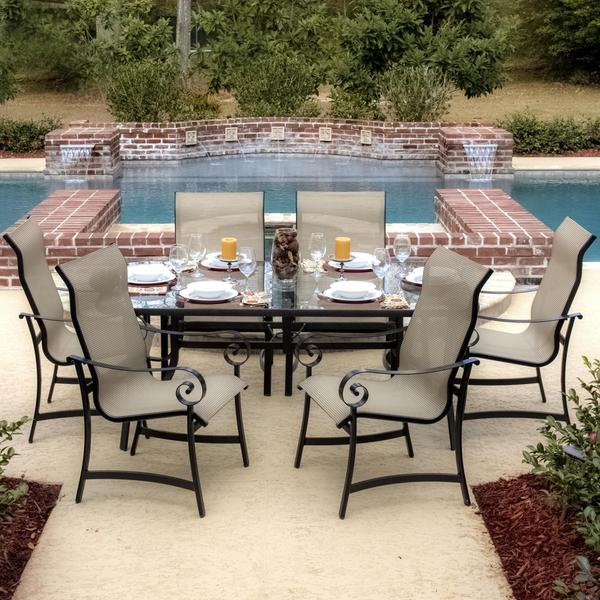 Shop La Salle 6 Person Sling Patio Dining Set With Glass Top Table