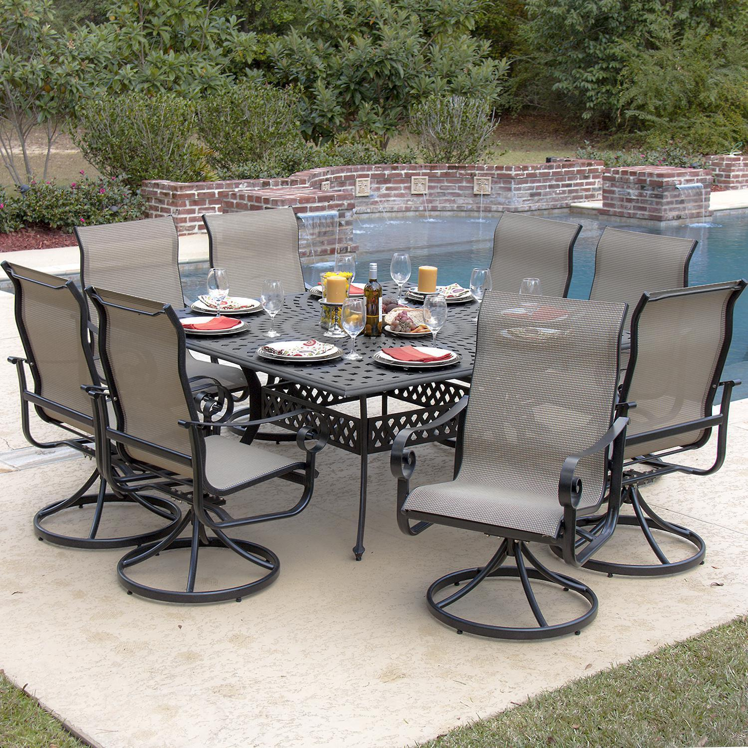 La Salle 8 Person Sling Patio Dining Set With Cast Aluminum Table Overstock 10378458