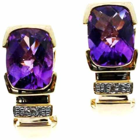 Kabella 14k Yellow Gold Precious Gemstone Diamond Accent Earrings