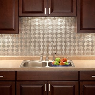 Fasade Miniquattro Crosshatch Silver 18 in. x 24 in. Backsplash Panel (2 options available)
