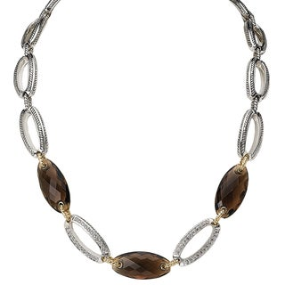 Avanti Palladium Silver 18k Yellow Gold Smoky Quartz and White Sappire Necklace