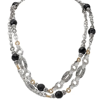 Avanti Palladium Silver 18k Yellow Gold Black Onyx and White Sapphire Necklace