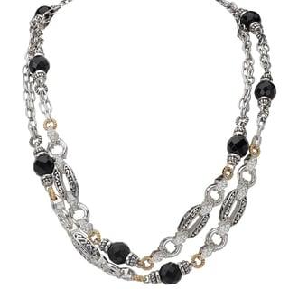 Avanti Palladium Silver 18k Yellow Gold Black Onyx and White Sapphire Necklace