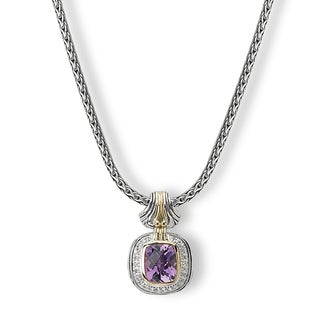 Avanti Palladium Silver 18k Yellow Gold Amethyst and White Sapphire Necklace