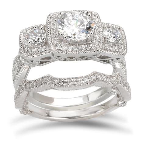 Avanti Rhodium-plated Sterling Silver 3 1/5ct Cubic Zirconia Round 3-stone Bridal Ring Set