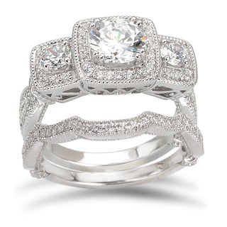 Avanti Rhodium-plated Sterling Silver 3 1/5ct Cubic Zirconia Round 3-stone Bridal Ring Set