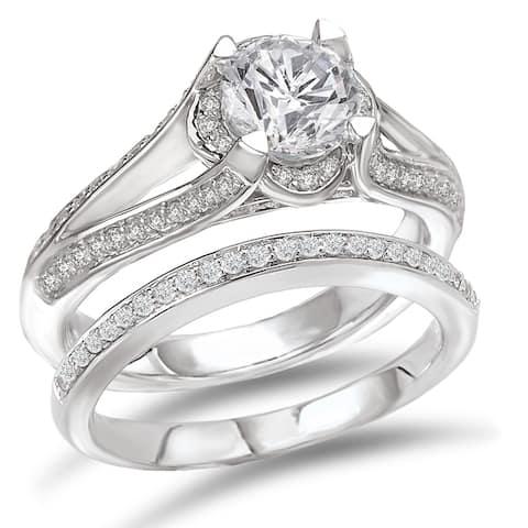 Avanti Rhodium-plated Sterling Silver 2 2/5ct Cubic Zirconia Round Split Shank Bridal Ring Set