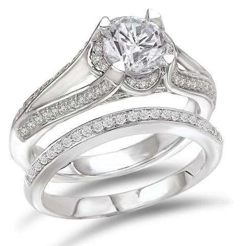 Avanti Rhodium-plated Sterling Silver 2 2/5ct Cubic Zirconia Round Split Shank Bridal Ring Set