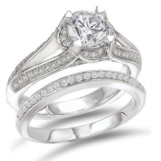 Avanti Rhodium Plated Sterling Silver 2 5ct Cubic Zirconia Round Split Shank Bridal