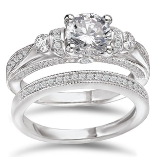 Avanti Rhodium-plated Sterling Silver 2 5/8ct Cubic Zirconia Round Vintage-Look Bridal Ring Set