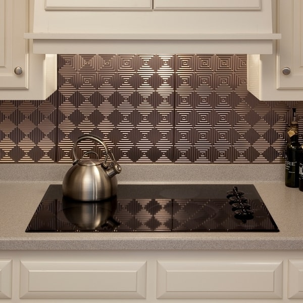 fasade miniquattro brushed nickel 18 inch x 24 inch backsplash panel