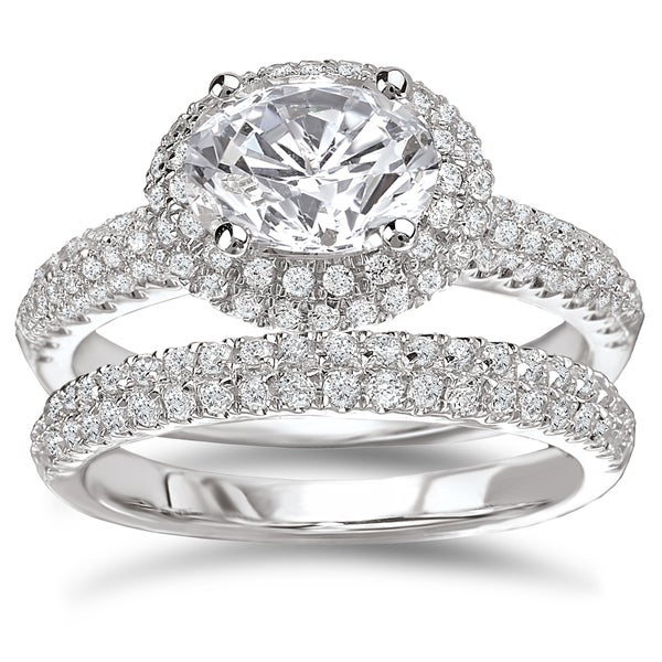 Avanti Rhodium-plated Sterling Silver 3 1/8ct Cubic Zirconia Oval Pave Halo Bridal Ring Set