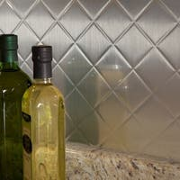 Fasade Quilted Brushed Aluminum 18 inch x 24 inch Backsplash Panel
