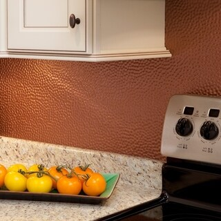 Fasade Hammered Argent Copper 18 in. x 24 in. Backsplash Panel