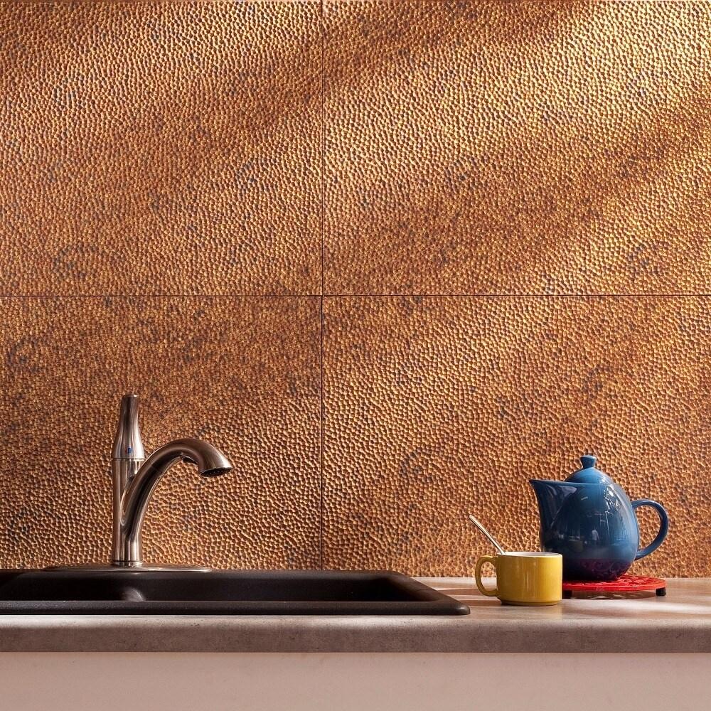 - Shop Fasade Hammered Cracked Copper 18 In. X 24 In. Backsplash