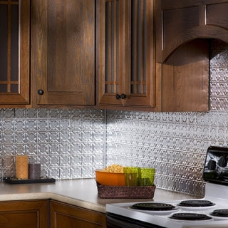 Fasade Traditional Style 6 Brushed Aluminum 18 In X 24 In Backsplash Panel