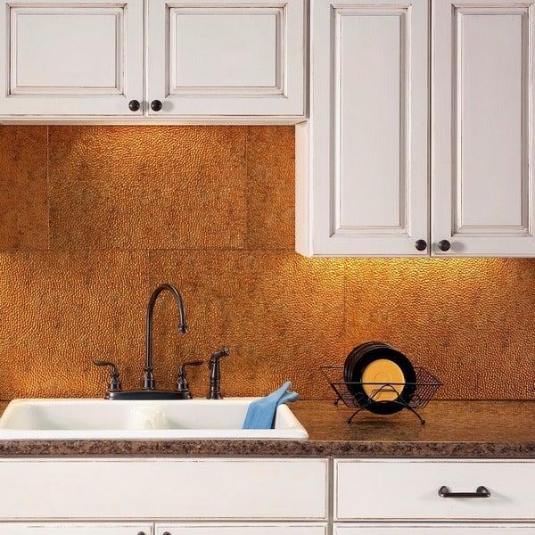 Plastic Backsplash For Kitchen: Shop Fasade Hammered Muted Gold 18 In. X 24 In. Backsplash