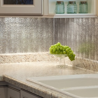 Fasade Hammered Crosshatch Silver 18 in. x 24 in. Backsplash Panel
