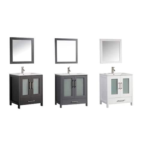 MTD Vanities Argentina 30-inch Single Sink Bathroom Vanity Set with Mirror and Faucet