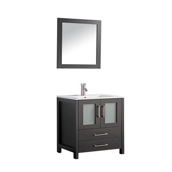 MTD Vanities Argentina 30 Inch Single Sink Bathroom Vanity Set With Mirror  And Faucet