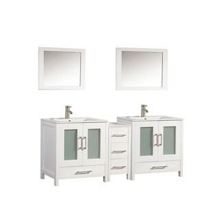 MTD Vanities Argentina 60-inch Double Sink Bathroom Vanity Set with Mirror and Faucet