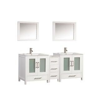 MTD Vanities Argentina 72-inch Double Sink Bathroom Vanity Set with Mirror and Faucet
