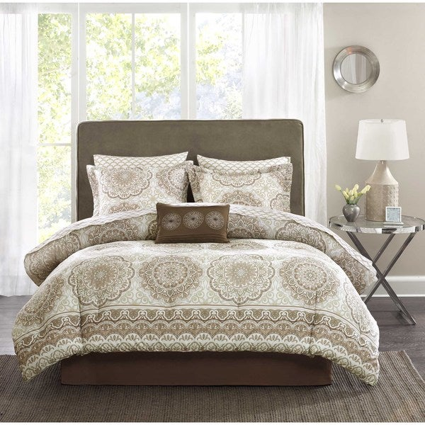 Madison Park Essentials Medina Taupe Complete Comforter and Cotton Sheet Set