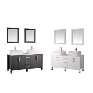 MTD Vanities Aruba 60-inch Double Sink Bathroom Vanity Set with Mirror and Faucet