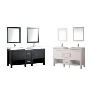 MTD Vanities Belarus I 60-inch Double Sink Bathroom Vanity Set with Mirror and Faucet