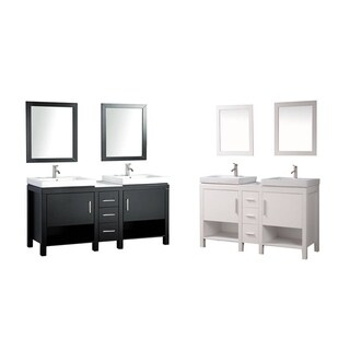 MTD Vanities Belarus I 60-inch Double Sink Bathroom Vanity Set with Mirror and Faucet (2 options available)