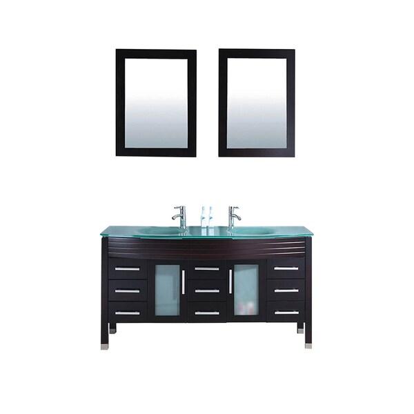 . MTD Vanities Figi 63 inch Double Sink Bathroom Vanity Set with Mirror and  Faucet