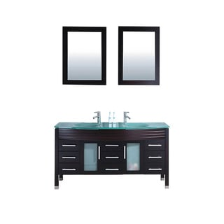 MTD Vanities Figi 63-inch Double Sink Bathroom Vanity Set with Mirror and Faucet