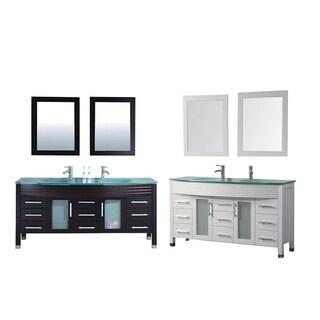 MTD Vanities Figi 71-inch Double Sink Bathroom Vanity Set with Mirror and Faucet