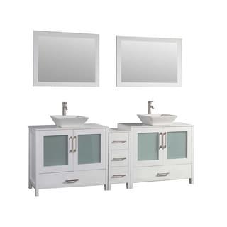MTD Vanities Jordan 72-inch Double Sink Bathroom Vanity Set with Mirror and Faucet