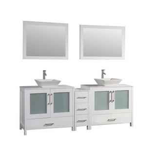 MTD Vanities Jordan 60-inch Double Sink Bathroom Vanity with Mirror and Faucet