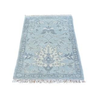 Handmade Silk Oushak Sky Blue Sample Oriental Rug (2' x 3'2)