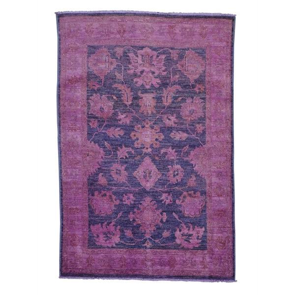 Handmade Peshawar Overdyed Oriental Rug - 4' x 6'